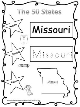 Missouri Read it, Trace it, Color it Learn the States pres