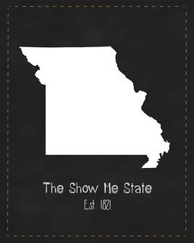 Missouri State Map Class Decor, Government, Geography, Bla