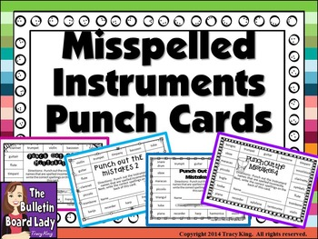 Misspelled Instruments Punch Cards