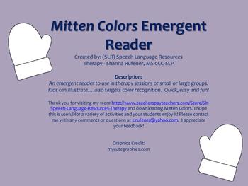 Mitten Colors Emergent Reader