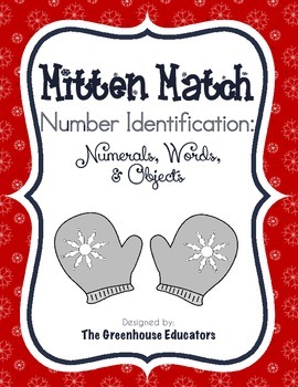 Winter Mitten Matching Activity: Numerals, Number Words, a
