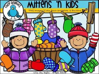 Mittens 'n Kids Clip Art Set - Chirp Graphics