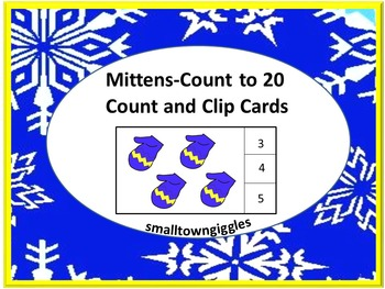 Winter Mitten Task Cards Math Centers Kindergarten Countin
