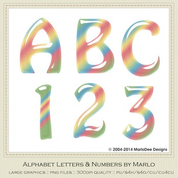 Pastel Baby Mix Colors Gloss Hobo Style Alpha & Number Graphics
