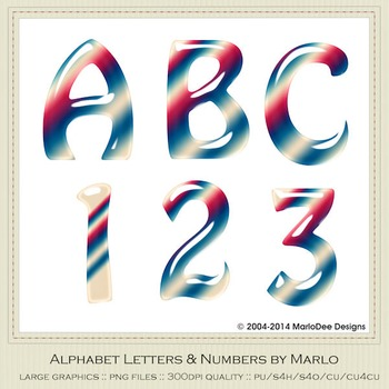July 4th Mix Colors Gloss Hobo Style Alpha & Number Graphics