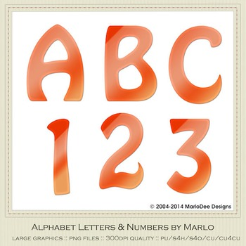 Orange Mix Colors Flat Hobo Style Alpha & Number Graphics
