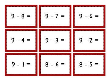 Mix & Match Game Cards {Simple Subtraction - Set 2}