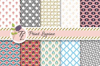 Mix Paper. Ikat, cross stitch, wave, geometric, quatrefoil