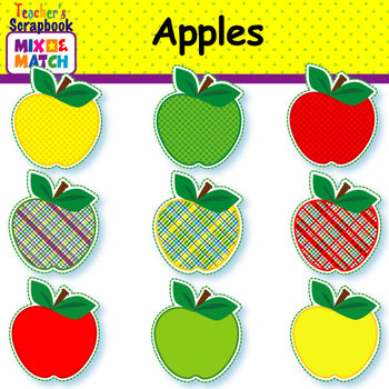 Mix&Match Apples & Frames Clip Art
