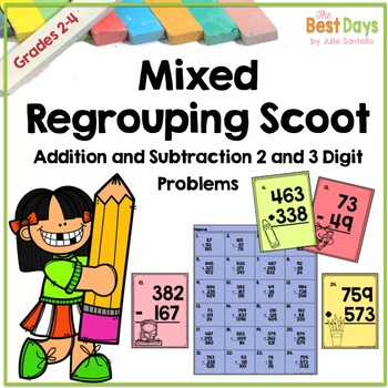Mixed Addition and Subtraction Scoot: School Themed!