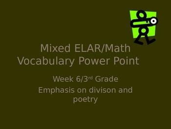 3rd Grade Mixed ELAR/Math Vocabulary Power Point Week 6