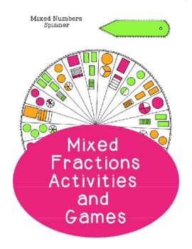 Mixed Fractions Spinner Activities Games -- Addition Subtr