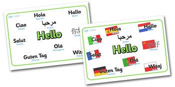 Mixed Language Hello Signs