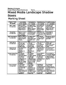 Mixed Media Boxes Marking Sheet