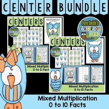 Mixed Multiplication Math Center Games Bundle of 0 to 10 M