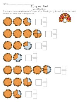 Mixed Number Fraction Worksheet - Easy as Pie!