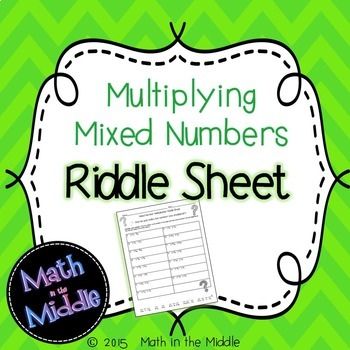 Mixed Number Multiplication Riddle Sheet