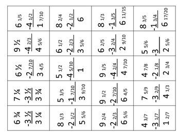 Mixed Number Subtraction BINGO