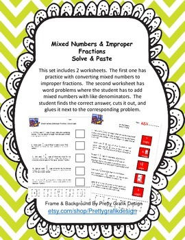 Mixed Numbers & Improper Fractions Solve & Paste