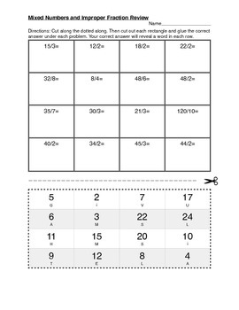 Mixed Numbers and Improper Fractions Assessment