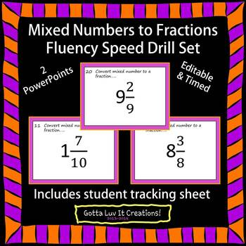 Editable Mixed Numbers to Fractions Fluency - 2 PowerPoints