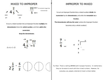 Mixed Numbers to Improper Fractions Handout