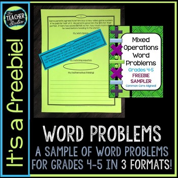 Mixed Operation Word Problem FREEBIE: Problem Solving for