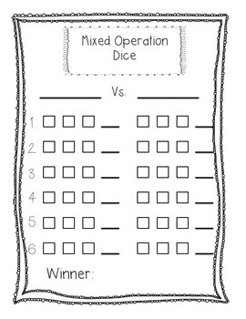 Mixed Operations Game First Grade