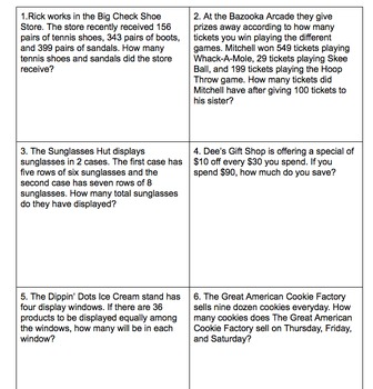 Mixed All Operations Multi-Step Word/Story Problems STAAR & CC