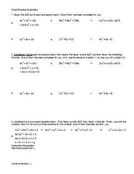 Mixed Practice: Quadratics