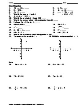 Mixed Practice Worksheet for Integers