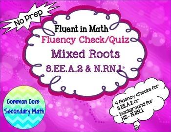 Cube & Square Root Mixed Fluency Check / Quiz:  No Prep Fl