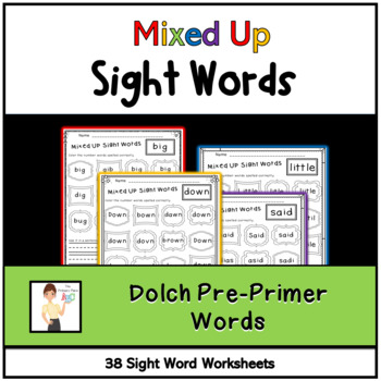 Mixed Up Dolch Pre-Primer Sight Words Printables