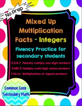 Integer Mixed Up Multiplication for Secondary Students: No
