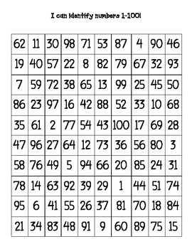 Mixed Up Numbers Charts