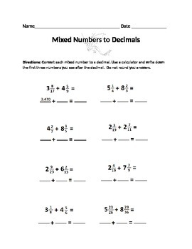 Mixed numbers to decimals worksheet