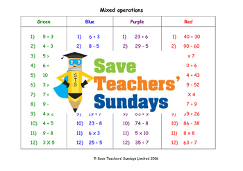 Mixed operations in numbers worksheets (4 levels of difficulty)