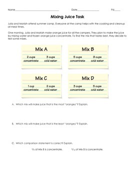 Mixing Juice Task (Comparing Ratios)