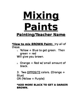 Mixing Paints Handout