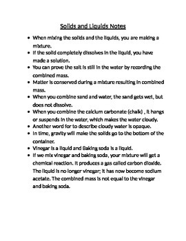 Mixing Solids and Liquids Science Notes
