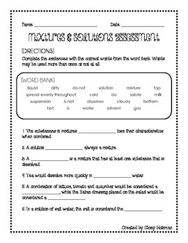 Mixtures & Solutions: Assessment
