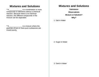 Mixtures and Solution Notes