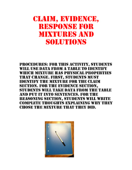 Mixtures and Solutions Claim Evidence Reasoning