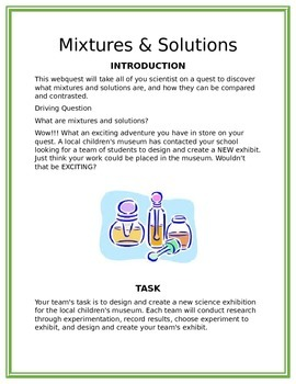 Mixtures and Solutions Museum Design Contest