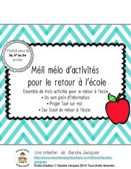 Méli mélo d'activités pour le retour à l'école/French Back