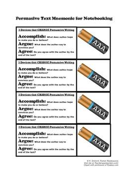 Mnemonic Handout for Persuasive Texts