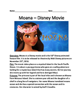 Moana - Disney movie - information lesson facts questions