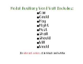 Modal Auxiliary Verb Word Wall