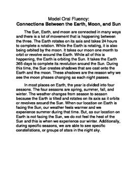 Model Oral Fluency: Earth, Moon, and Sun