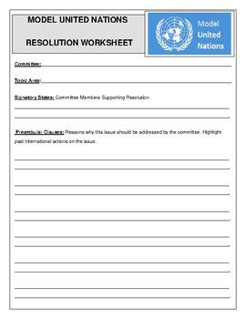 Model United Nations Resolution Worksheet